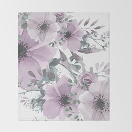Abstract Watercolor, Purple and Gray, Floral Watercolor Throw Blanket
