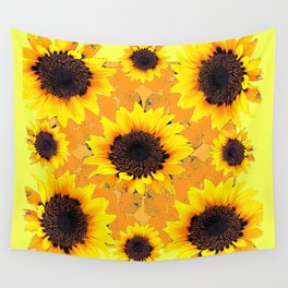 Decorative Golden Yellow  Black Sunflower patterns Wall Tapestry