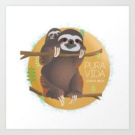 Sloth Pura Vida Art Print