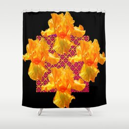 Golden Spring Iris Patterned Black  Decor Shower Curtain