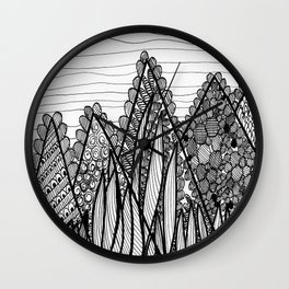 Black & White Mountains Wall Clock