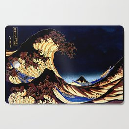 The GREAT Wave Midnight Blue Brown Cutting Board