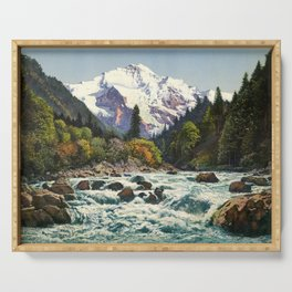 Mountains Forest Rocky River Serving Tray