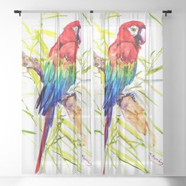Parrot Scarlet Macaw, Tropical Birds, Jungle Red, Green Blue bright colored tropical artwork Sheer Curtain