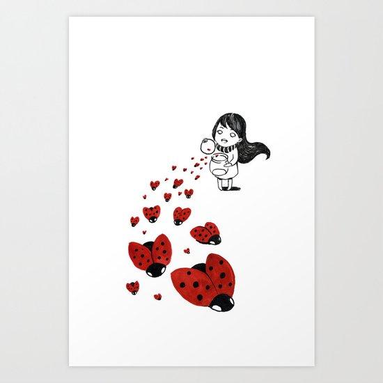 Little girl and ladybugs Art Print