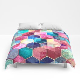 Topaz & Ruby Crystal Honeycomb Cubes Comforters