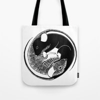ying yang Tote Bags featuring Ying & Yang by Brittany Rae
