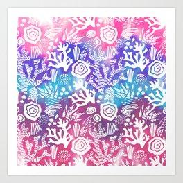 Nautical pink teal violet watercolor coral floral pattern Art Print
