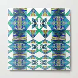 Diamond Geometric Intricate Beauty Green & Blue Metal Print