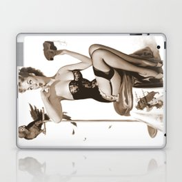 No You Don't by Gil Elvgren Sepia Pin Up Girl Laptop & iPad Skin
