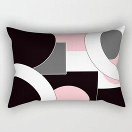 An abstract geometric pattern . Geometric shapes . Black pink white pattern . Rectangular Pillow