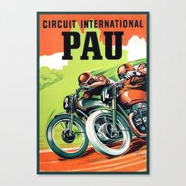 1951 Pau Grand Prix Motorcycle Race Poster Canvas Print