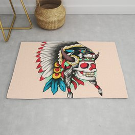 Skull and Panther Tattoo Rug