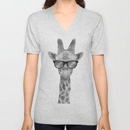 Hipster Giraffe Unisex V-Neck