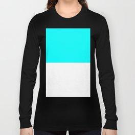 White and Aqua Cyan Horizontal Halves Long Sleeve T-shirt