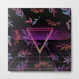 Synthwave Leaves Aesthetic Metal Print