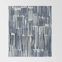 Simply Bamboo Brushstroke Indigo Blue on Lunar Gray Throw Blanket