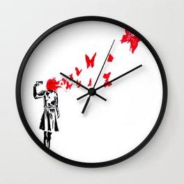 banksy gun Wall Clock