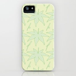 Japanese Maple Leaf and Seed Pattern iPhone Case