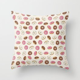 ALL the donuts! Rainbow on Cream Throw Pillow