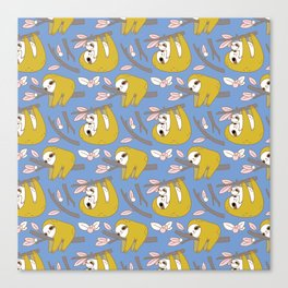 Sloth pattern in blue Canvas Print