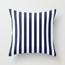 Stripe Vertical Navy Blue Throw Pillow
