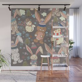 6)Christmas cute illustration with bunny and snowmen. Winter design illustration Wall Mural