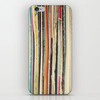 record iPhone & iPod Skins featuring Record Collection by Cassia Beck