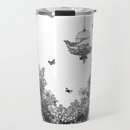 Aquarium Bulb Bird with Flowers Travel Mug