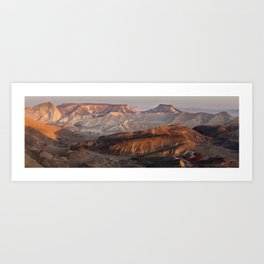 View of the crater Makhtesh Ramon, sunset Art Print