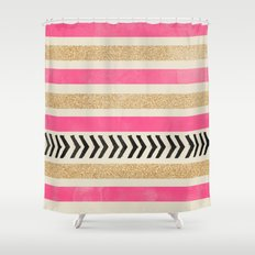 PINK AND GOLD STRIPES AND ARROWS Shower Curtain