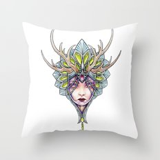 crowned girl Throw Pillow