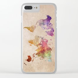 World Map Watercolor Clear iPhone Case