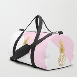 Pink white colorblock gold geometrical pineapple Duffle Bag