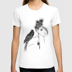Parrot Girl Womens Fitted Tee White SMALL