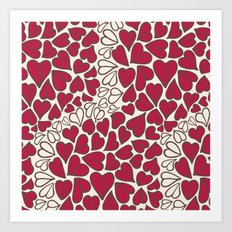HEARTS  ~  CRIMSON & CLEAR Art Print