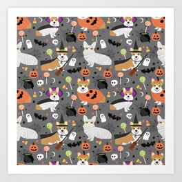 Corgi halloween costume ghost mummy vampire howl-o-ween dog gifts Art Print
