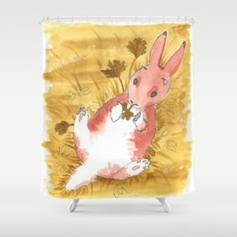 Snacking Baby Jackalope Shower Curtain