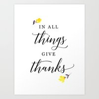 In all things give thanks with small flowers Art Print