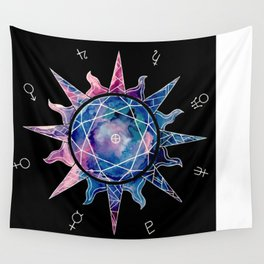 Crystal Sun | Planet Symbol | Watercolor Wall Tapestry