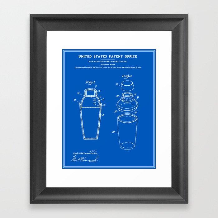 Cocktail shaker patent blueprint framed art print by finlaymcnevin cocktail shaker patent blueprint framed art print malvernweather Images