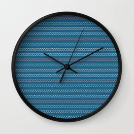 Hand drawn textured maritime rope stripes. Wall Clock
