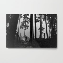 Mountain Biker in the Misty Bike Park Metal Print