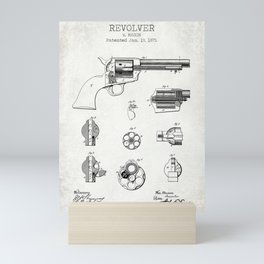 Revolver old patent Mini Art Print