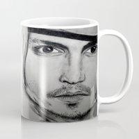 johnny depp Mugs featuring Johnny Depp by Miss Midnight