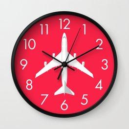 747-400 Jumbo Jet Airliner Aircraft - Crimson Wall Clock