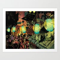 lanterns Art Prints featuring Lanterns by Christine Larsen