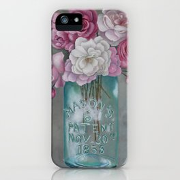 Antique Mason Jar Number 6 1858 with Pink Roses iPhone Case