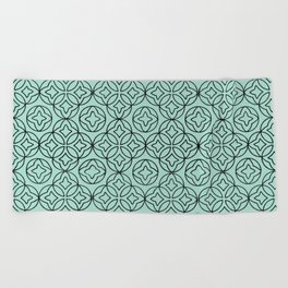 Ancient Pattern Illustration in Blue Beach Towel
