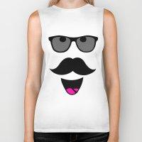 mustache Biker Tanks featuring Mustache by siti fadillah